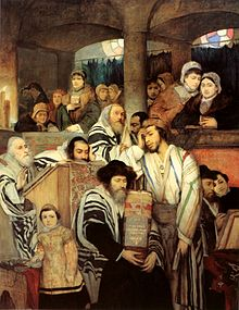 Мауриций Готлиб. Евреи молятся в синагоге на Йом-Кипур. Вена, 1878